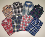 Flannel shirts chequered woven fabric