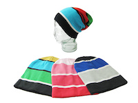 unisex hat with colourful block-stripes