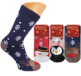 Ladies full terry thermo socks with funny winterly motives on the toes