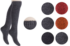 melange plain coloured full terry knee high socks for ladies